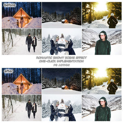 Romantic snowing effect PS action one step generation