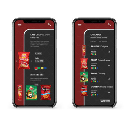 5 Screens Chips snack app Iphone 12 UI