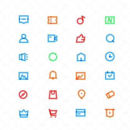 Thick line color icon vector