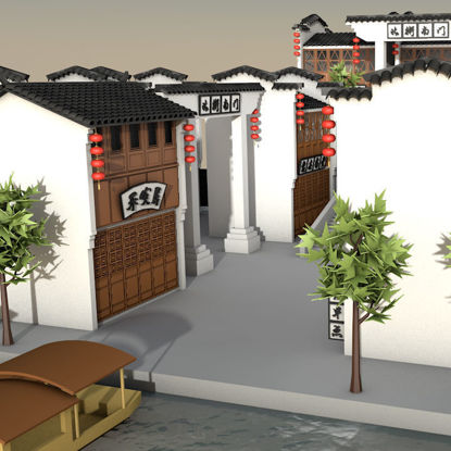 Small town 3d model