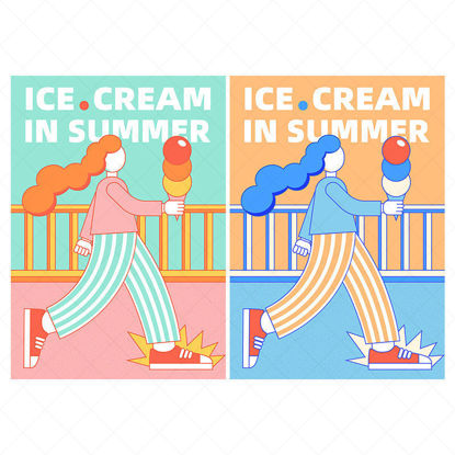 Ice cream girl vector poster