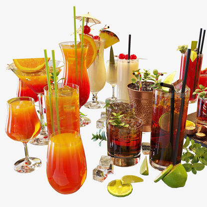 Cocktail Liquid Glass Set 3d model
