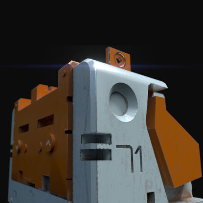 Sci-fi heavy metallic container game ready asset Low-poly 3D model