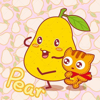 Cartoon fruit, cartoon snow pear, cartoon cat, Huang Xiaohu, illustration vector eps