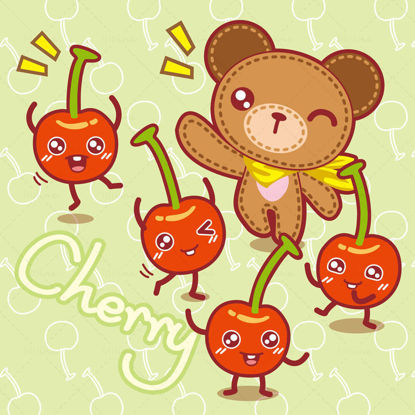 Cartoon fruit, cartoon cherry, cartoon bear, teddy bear, illustrator vector eps