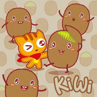Cartoon fruit cartoon kiwi cartoon cat illustration vector eps