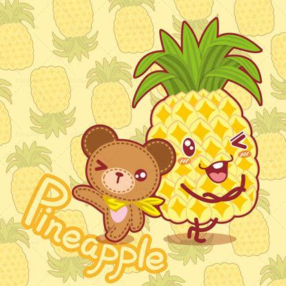 Cartoon fruit, cartoon pineapple, cartoon bear, teddy bear, illustration vector eps