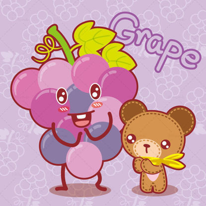 Cartoon fruit, cartoon grapes, cartoon bear, Xiong Ganbao, illustration vector eps