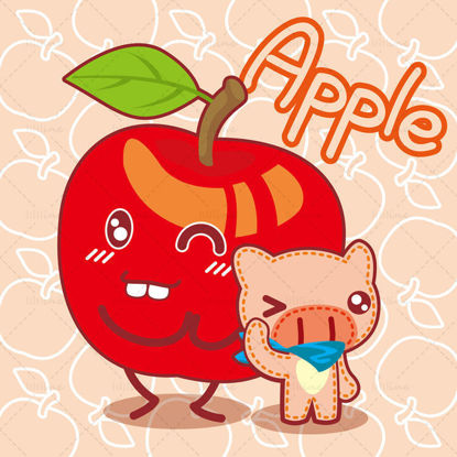 Cartoon fruit, cartoon apple, cartoon pig, big nose pig, illustration vector eps