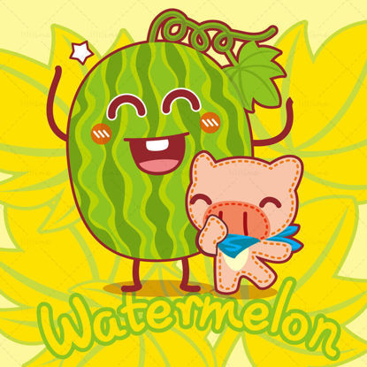 Cartoon fruit, cartoon watermelon, cartoon pig, big nose pig, illustration vector eps
