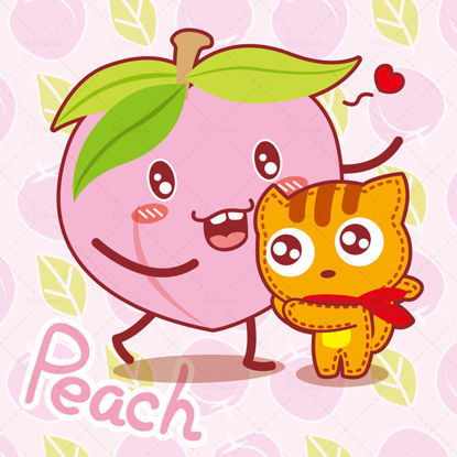 Cartoon fruit, cartoon peach, cartoon cat, yellow humiliation, illustration vector eps