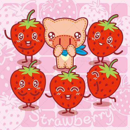 Cartoon fruit, cartoon strawberry, cartoon pig, big nose pig, illustration vector eps