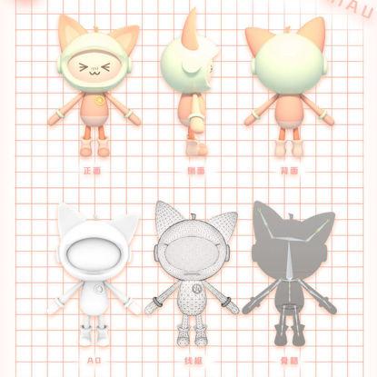 Kitten cartoon character IP with skeleton 3D model