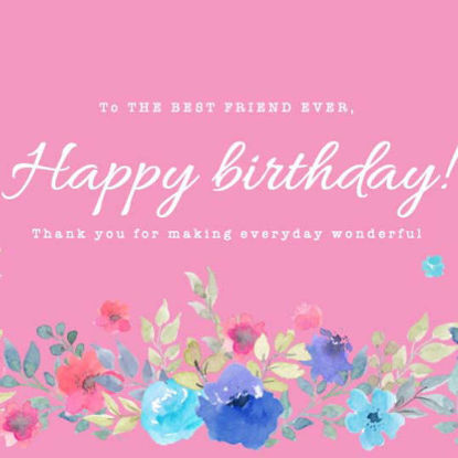 Birthday card with floral ornaments ppt template