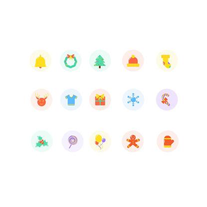 15 Christmas Flat Icons Vector