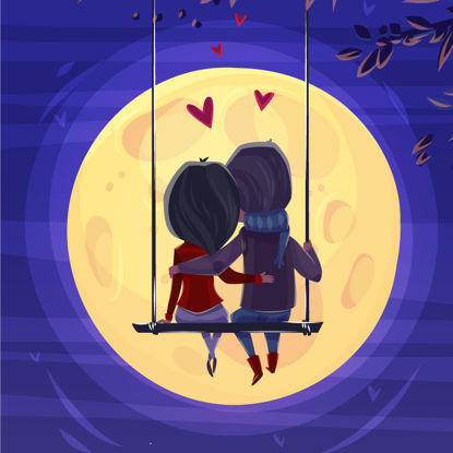 Lover On The Swing Cartoon Graphic AI Vector