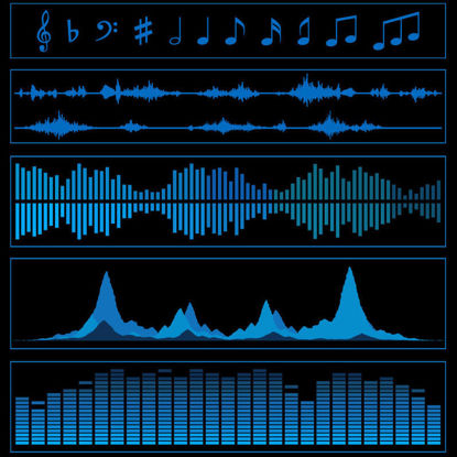 Music Frequency Acoustic Wave Diagram AI Vector