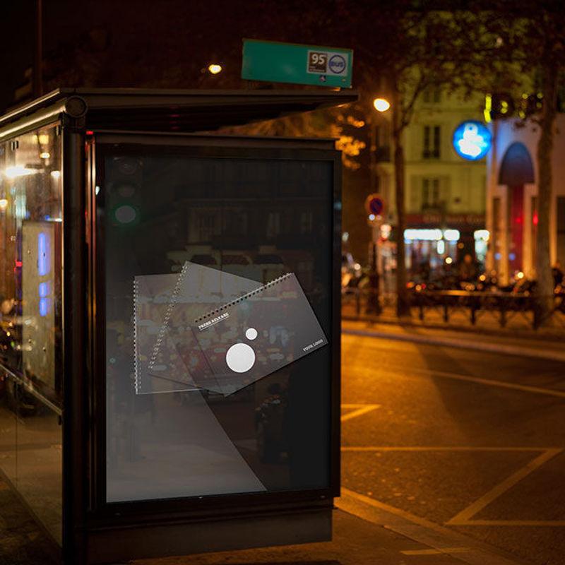 BUS BUS photorealistic poster mockup night