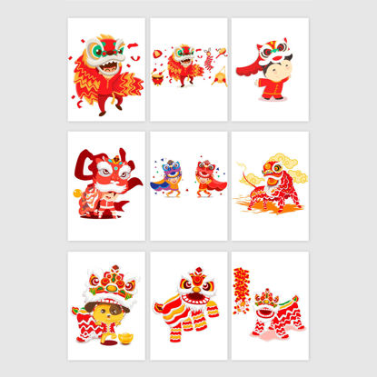 Chinese Style Dragon And Lion Dance Graphic AI Vector