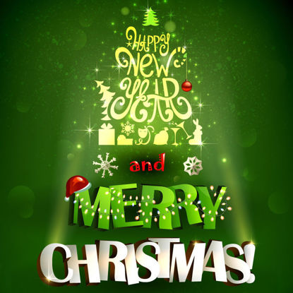 Christmas New Year Elaborate Green Graphic Design AI Vector