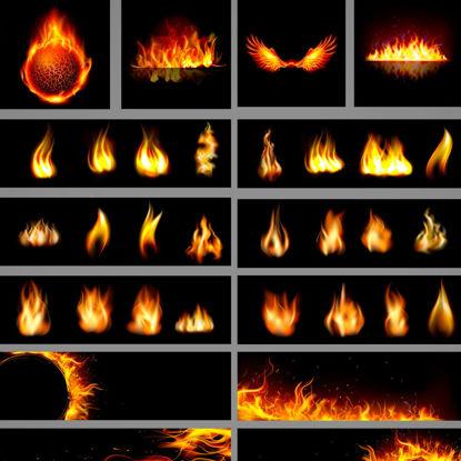 Photorealistic Fire Graphic Design Collection AI Vector
