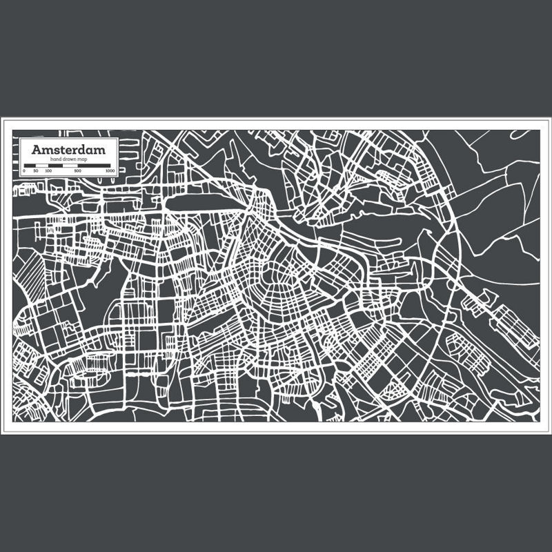 Hand Drawn Amsterdam Map AI Vector