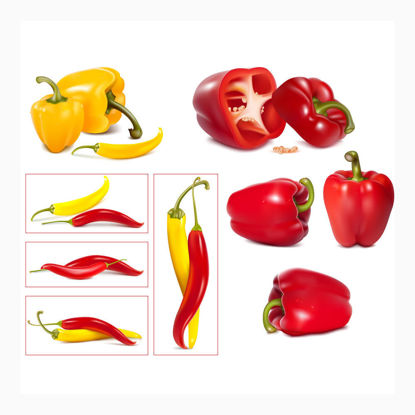 Red Yellow Chili Photorealistic Graphic AI Vector