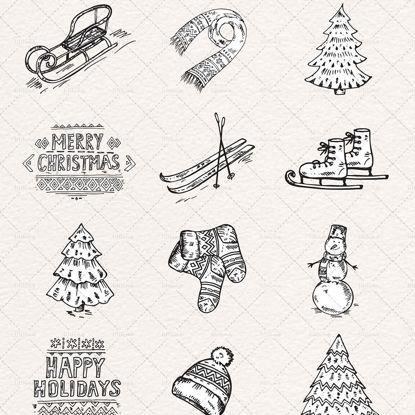 Christmas hand painted decorative design elements AI & EPS