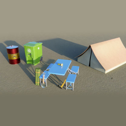 Outdoor 3d model assets - 8 pack
