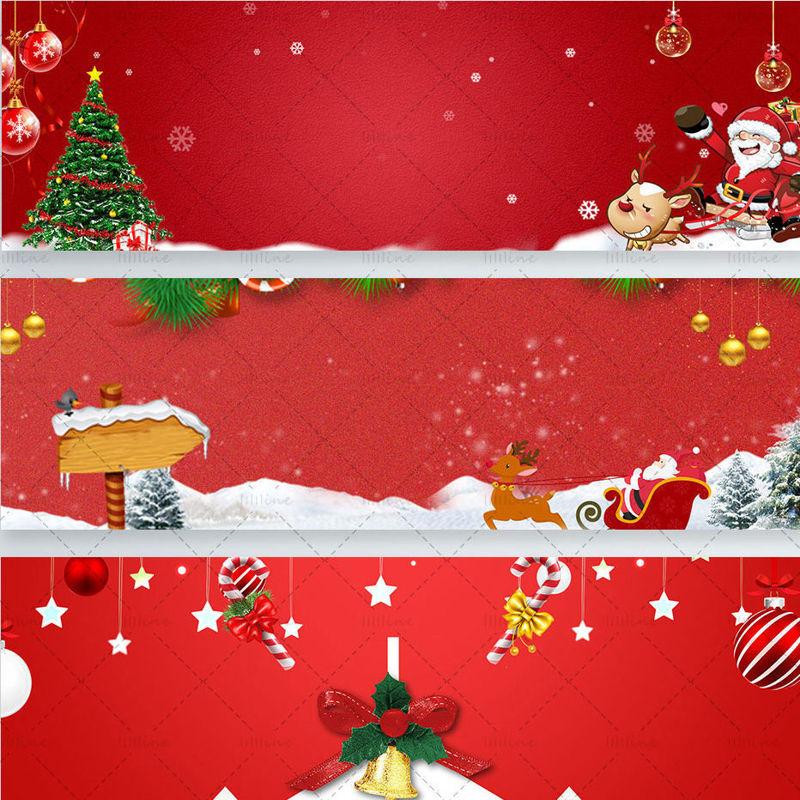 Christmas Banner psd Christmas tree  santa  snow ornaments