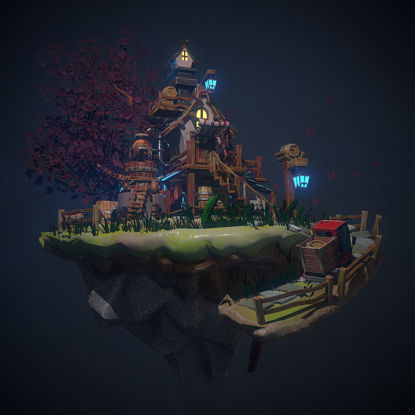 Enviroment 3d model stylized for video game