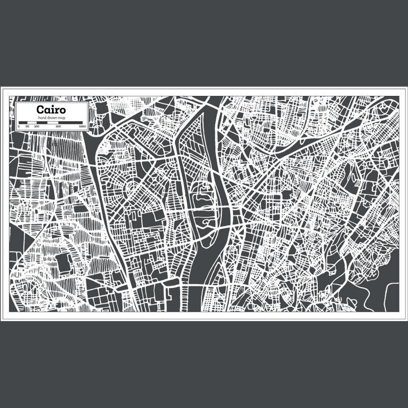 Hand Drawing Cairo Map AI