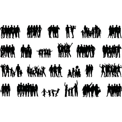 Crowd Family Friends Cheer People Silhouettes AI Vector