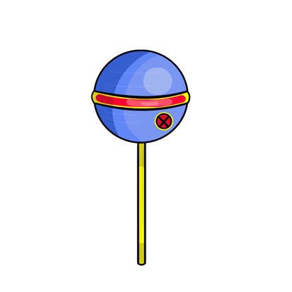 A lollipop as Cyclops from X-Men