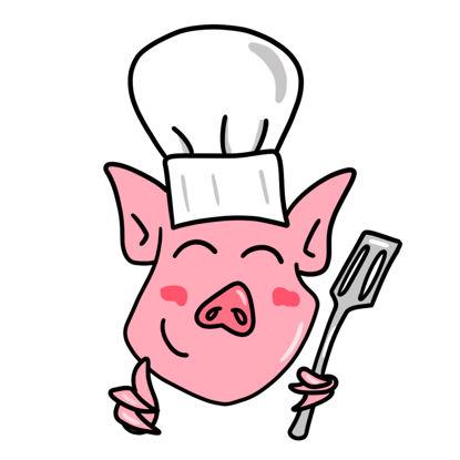 A cartoon pig as a chef