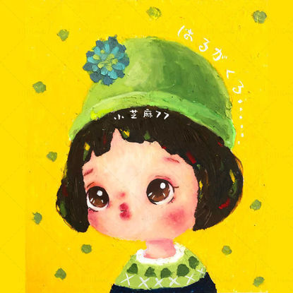 Hand drawn illustration-cute little girl with oil pastel