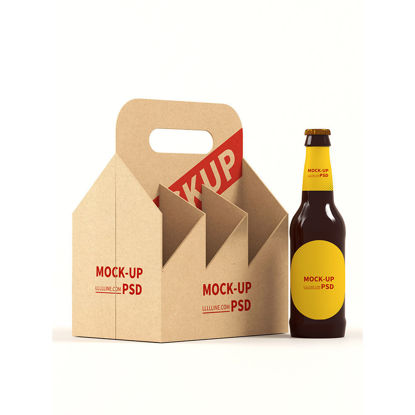mockup of portable beer packing box in restaurant