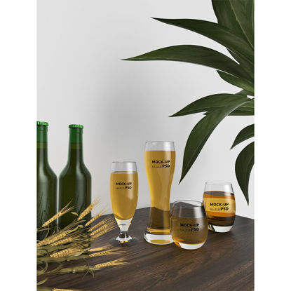 Several kinds of glass wine cup mockup in restaurant scene