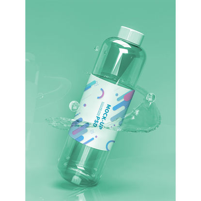 mockup of drinking water bottle in restaurant
