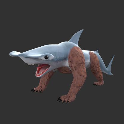 Hammerhead BearShark Optimized Creature Character 3D-model