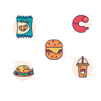 Chips, milk, drinks, fried chicken, cheeseburger icon