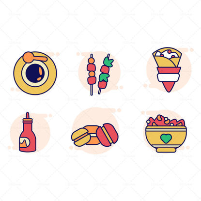 Cereal macaron chili sauce crepe skewers coffee vector icon