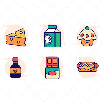 Cheese milk pie beer chocolate hot dog vector icon