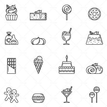 Vector cake desserts and other baked goods icons