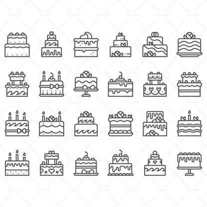 Vector line sweet cake homemade dessert with candle icon