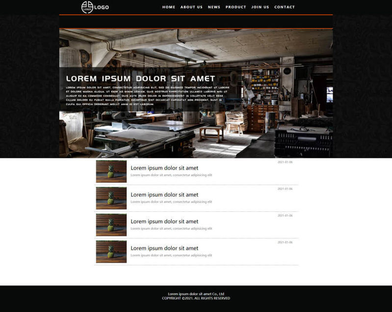 Black style company HTML website template multi function multi page can be edited