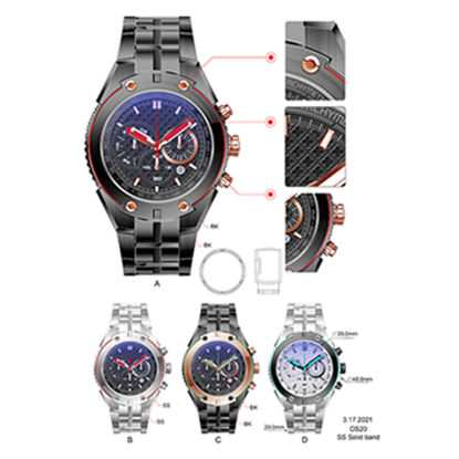 Stainless steel watch graphic design color picture