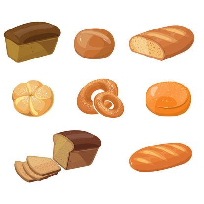 Vector cartoon bread baking products