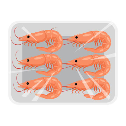 Vector supermarket shrimp seafood food ingredients