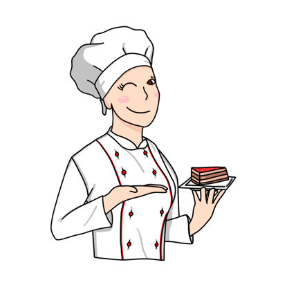 Dessert chef female baker with a piece of cake